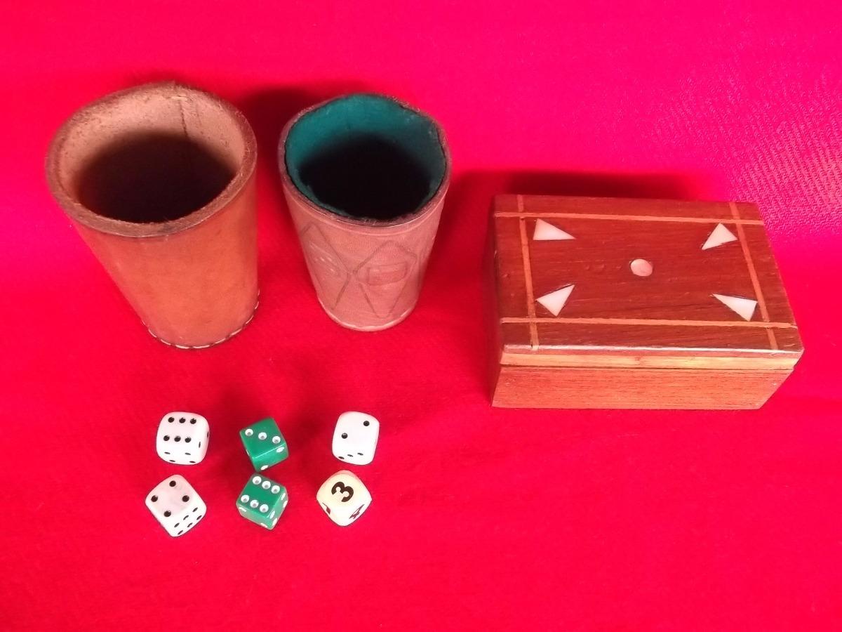 Juegos Mesa Cubiletes Dados Y Caja Madera Para Naipes R 890 00