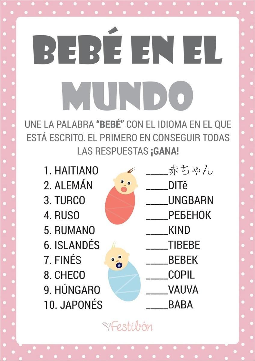 Juegos Para Baby Shower Imprimibles Niño Niña Promo 2x1 ...