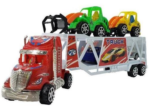 juguete camion porta vehiculos x 4 piezas 41.5x16.5 cm