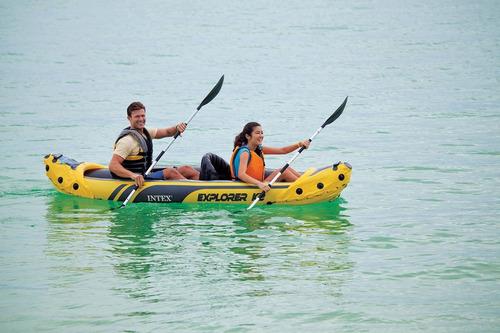 kayak doble inflable intex explorer k2 68307 + remos + infla