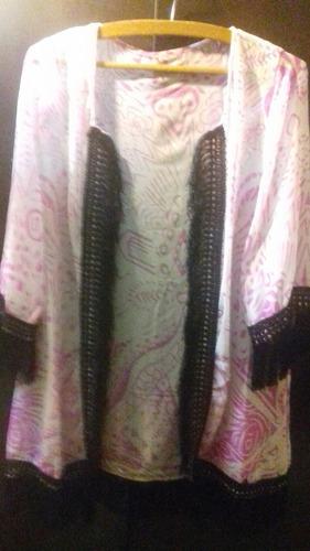 kimono en seda tonos blanco y rosa t.xl