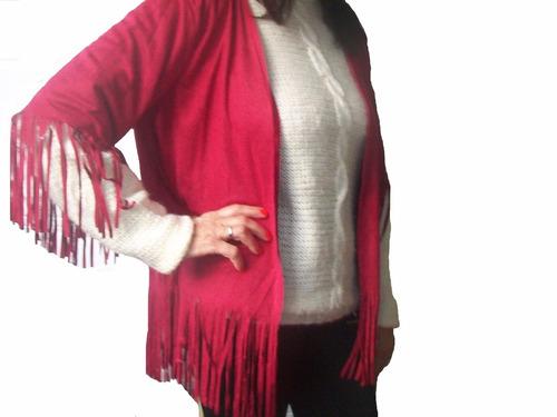 kimono  simil gamuza color rojo c/ flecos talle l  cod. r143