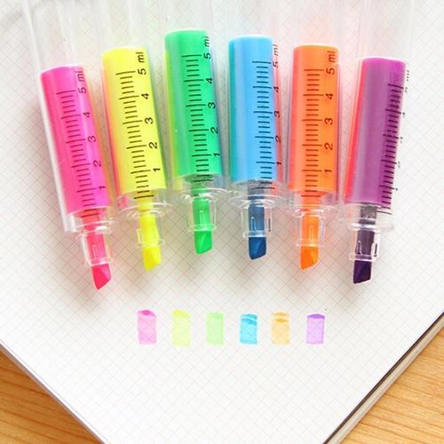 kit 10 canetas seringa injeção marca texto