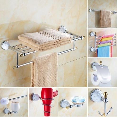 kit accesorios baño retro o lujo cromo  x unidad x encargue