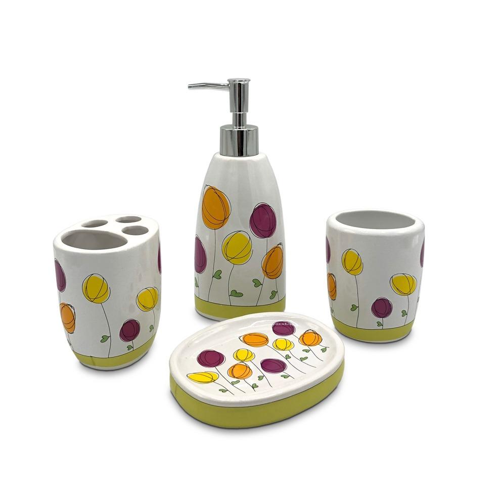 Kit Accesorios Set Baño 4 Piezas Ceramica Ducha Deco 82092 ...