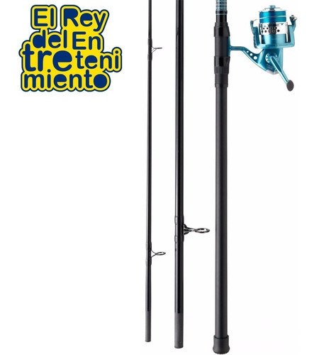kit caña pescar + reel lance mitchell 4.20m 3tramos - el rey
