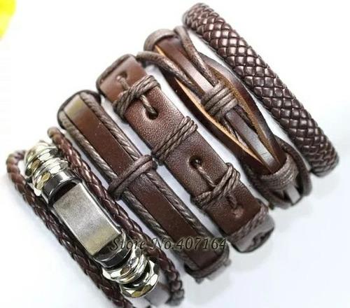 kit com pulseiras masculinas moda masculina couro legítimo