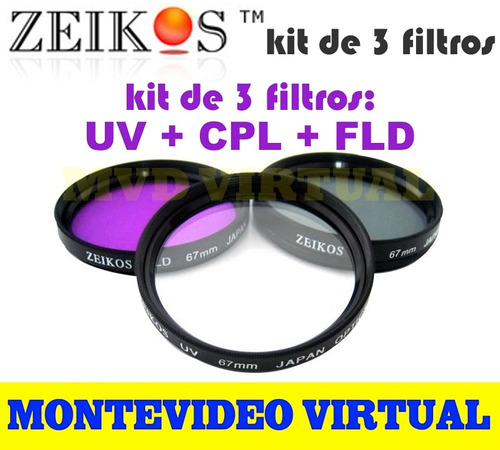 kit de 3 filtros zeikos para fotografía  (uv + cpl + fld)