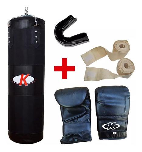 kit de boxeo knex bolsa rellena+bucal+guante+venda mvdsport