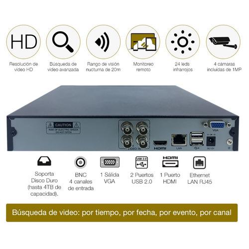 kit de seguridad kolke hd dvr 4 cámaras + acc y cables loi