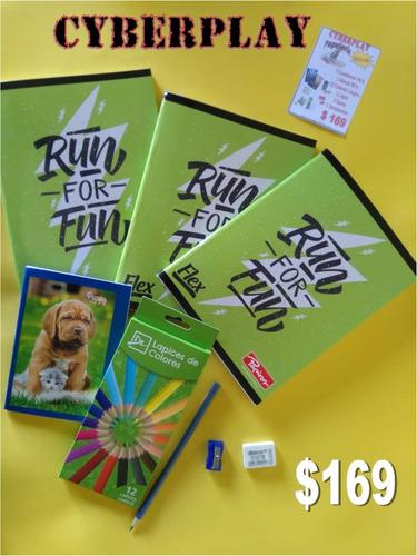 kit escolar cuadernos lapiz libreta goma sacapuntas colores