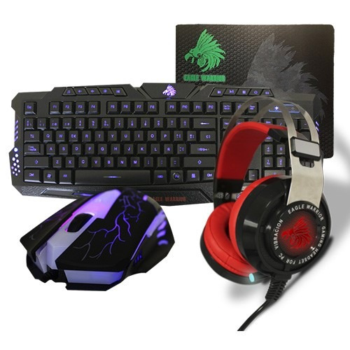 kit gamer eagle warrior g79 + g16 + raven + mousepad