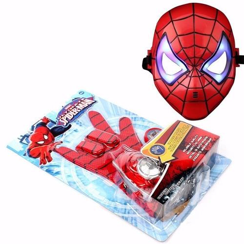 kit homem aranha luva lança discos + mascara com led