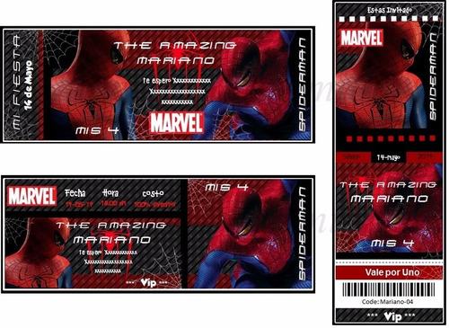 kit imprimible 3x1 spiderman hombre araña candy bar