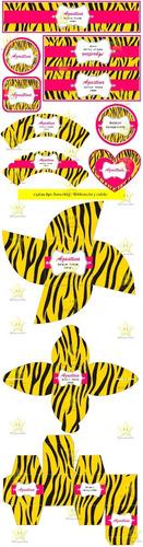kit imprimible animal print tigre candy bar golosinas y mas