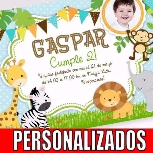 kit imprimible animalitos selva primer año invitaciones cand