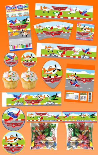 kit imprimible aviones 30 etiquetas personalizadas