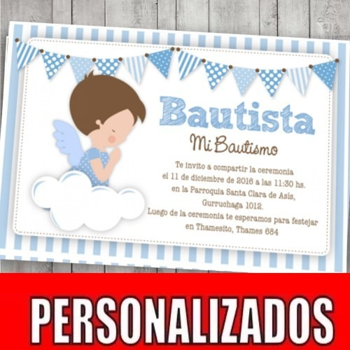 Kit Imprimible Bautismo Angelito Decoración Candy Bar Varón - $ 400 ...