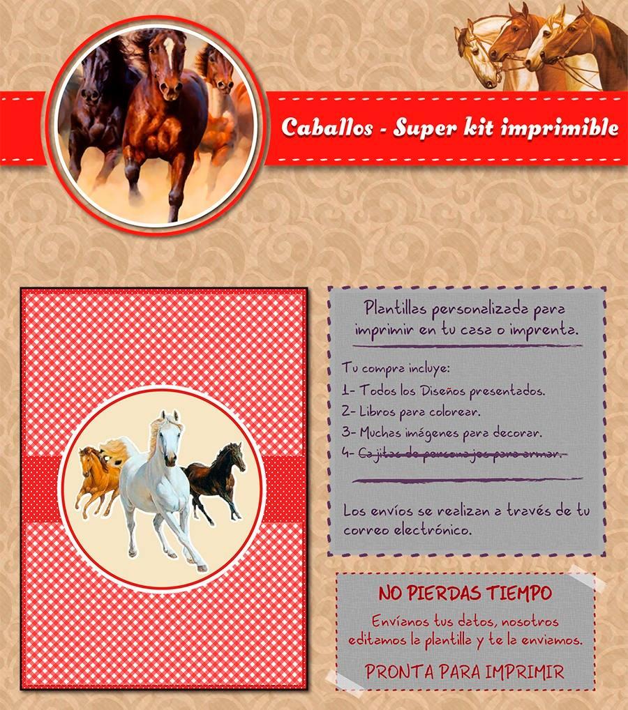 Kit Imprimible Caballos Personalizado Candy Bar Cumpleaños