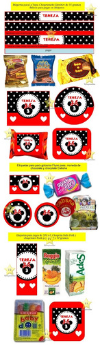 kit imprimible candy bar golosinas minnie roja silueta