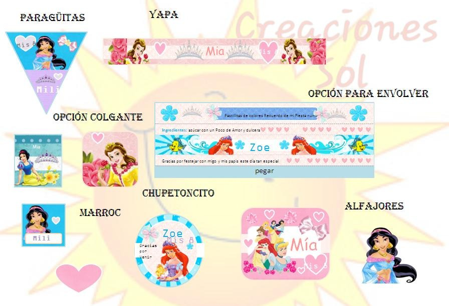 Kit Imprimible Candy Bar Princesas De Disney - $ 34,99 en Mercado Libre