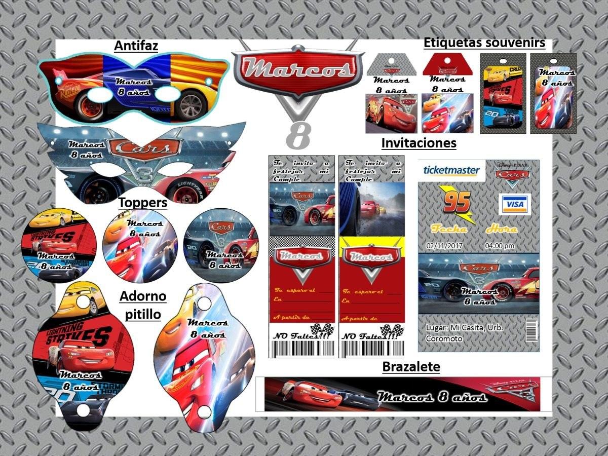 Kit Imprimible Cars 3 Invitaciones Tarjetas Y Mas 2x1