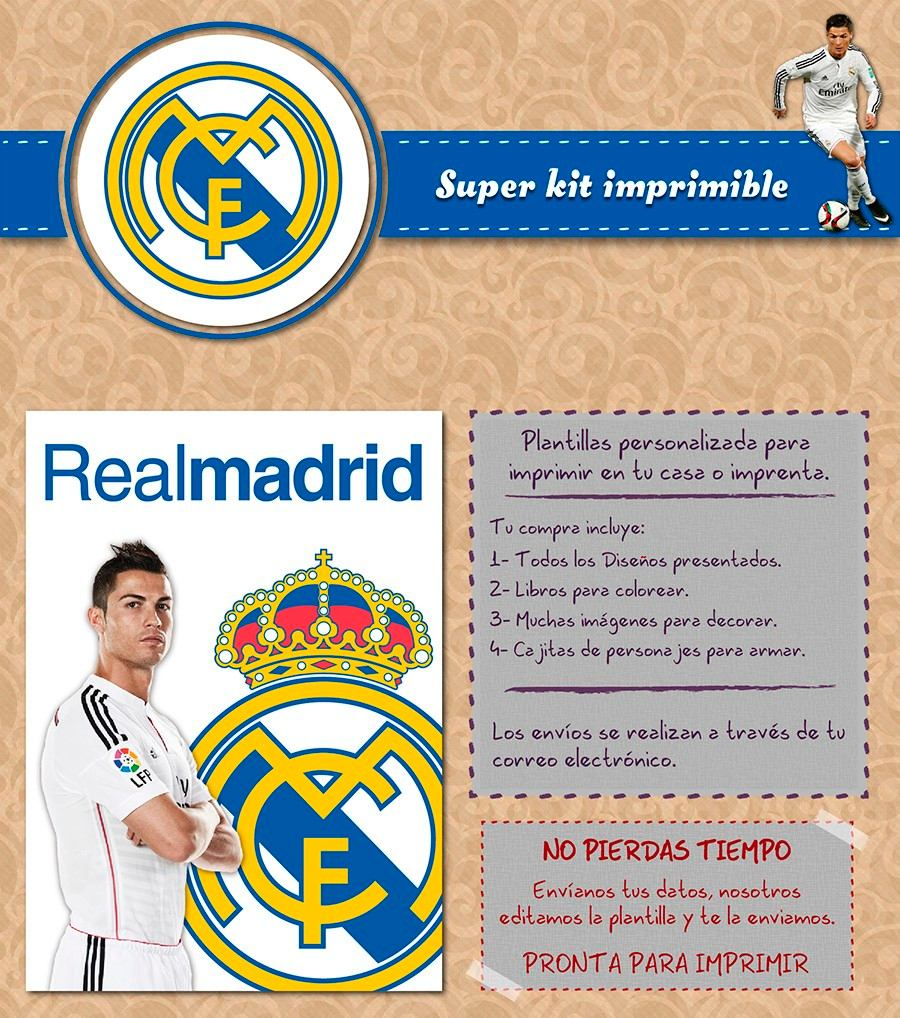 Kit Imprimible Christiano Ronaldo Real Madrid Personalizado