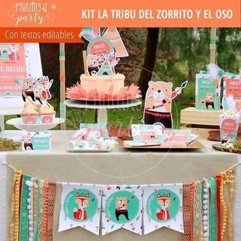 Kit Imprimible Decoracion Cumple Infantil Zorro Oso Safari 250