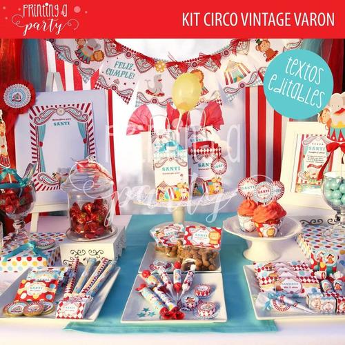 kit imprimible editable circo vintage decoración exclusivo 3