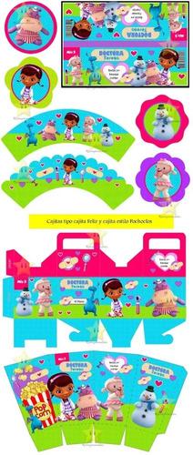 kit imprimible editable doctora juguetes, golosinas stickers