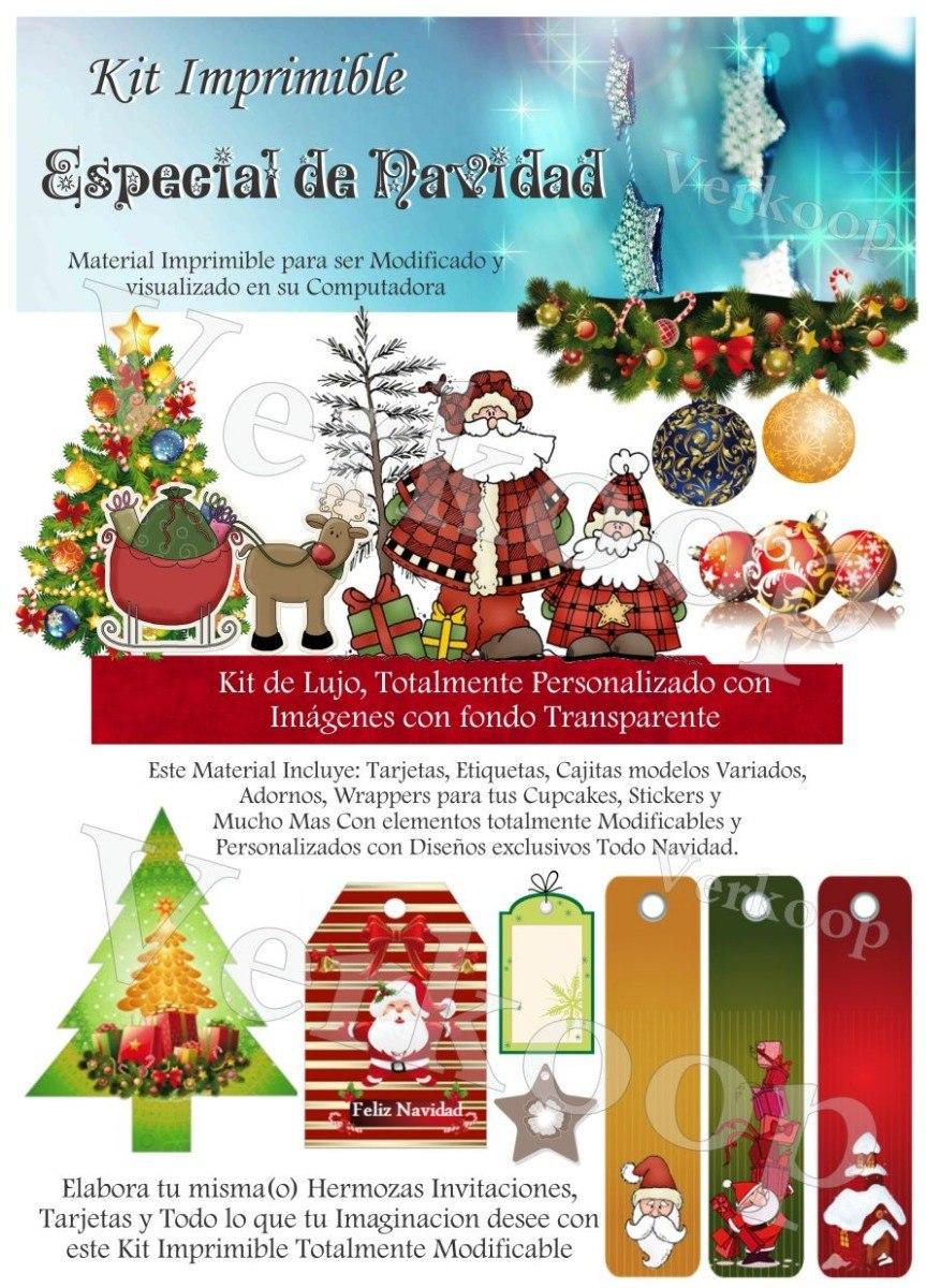 Kit Imprimible Especial De Navidad Tarjetas Cajas Editable