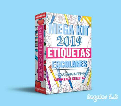 kit imprimible etiquetas escolares 2019- entrega inmediata