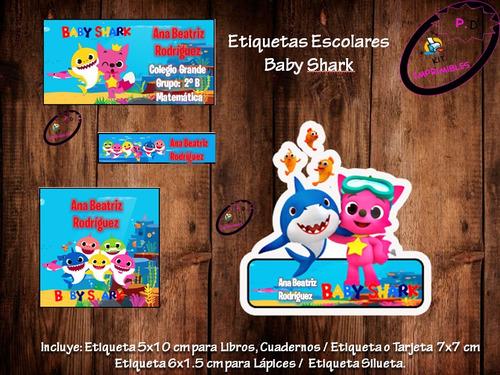 kit imprimible etiquetas escolares baby shark