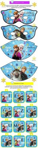 kit imprimible frozen cotillón candy bar tarjetas cumpleaños