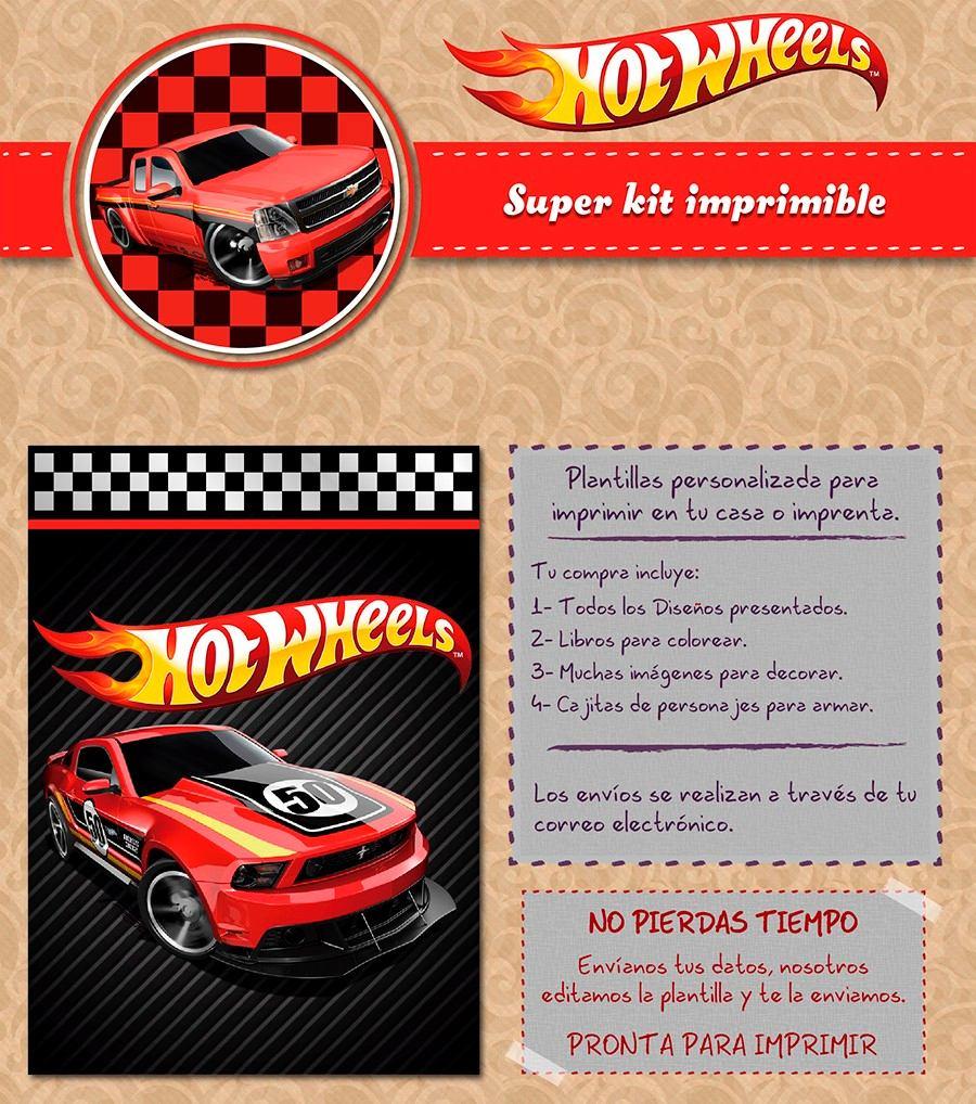 Kit Imprimible Hot Wheels Autos Rojos Personalizado Candy Ba - $ 500 ...