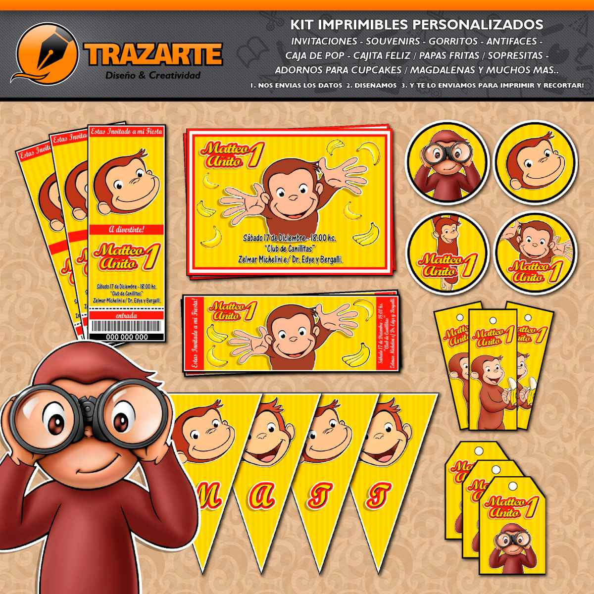 Kit Imprimible Jorge El Curioso Monito Personalizado Candy - $ 500 ...