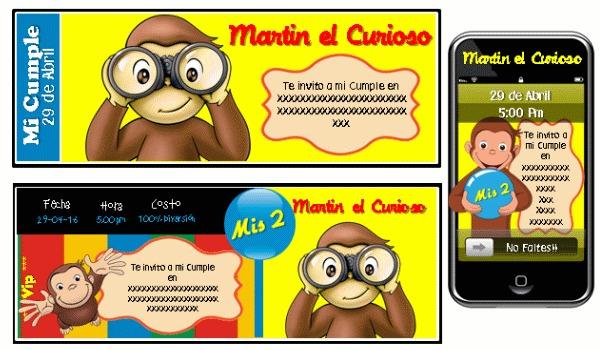 Kit Imprimible Jorge El Curioso Tarjetas Candy Bar Torta
