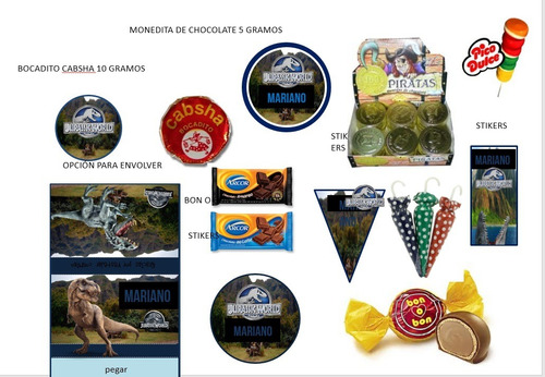 kit imprimible jurassic world candy bar golosinas tarjetas
