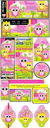 kit imprimible lechuzas y búhos diseñá tarjetas, cumples