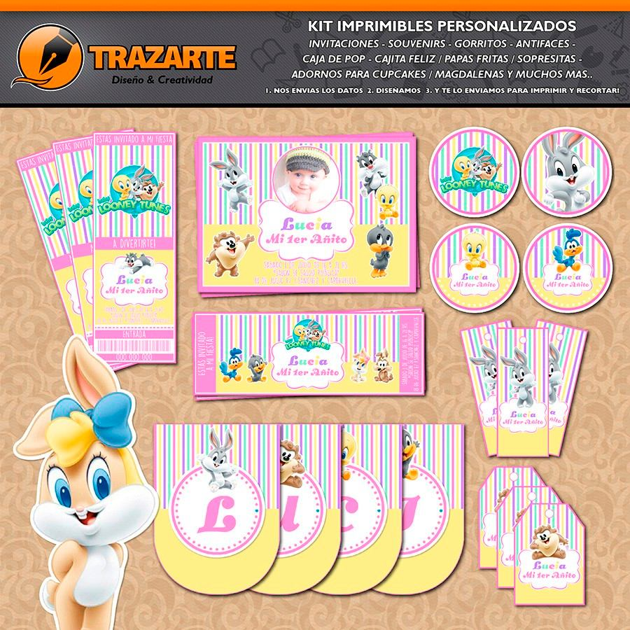 Kit Imprimible Looney Tunes Bebés Nena Personalizado Candy B