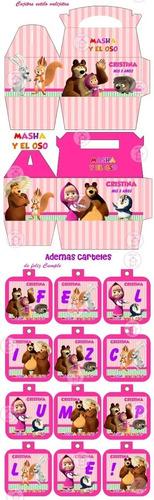 kit imprimible masha y el oso candy bar golosinas y mas