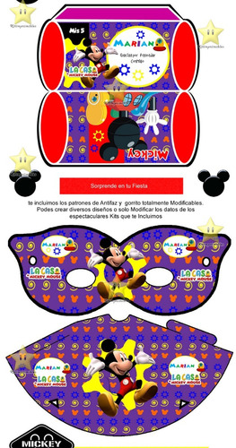 kit imprimible mickey clubhouse candy bar golosinas cod03