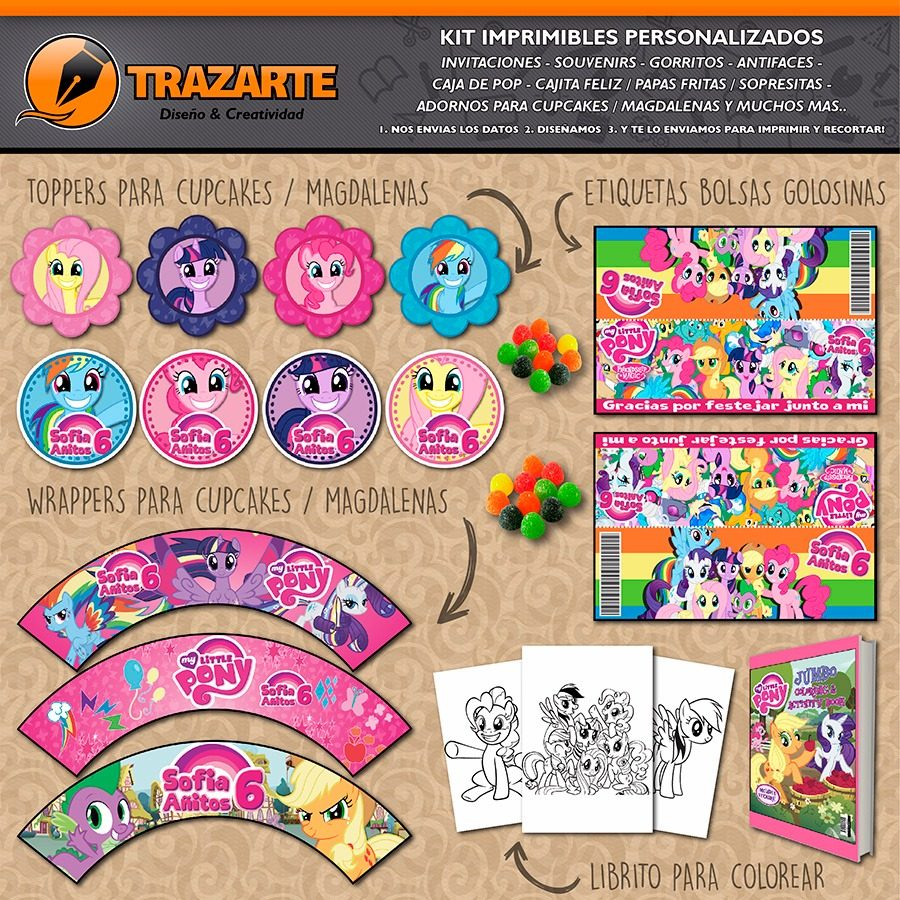 Kit Imprimible My Little Pony Personalizado Candy Bar - $ 500,00 en ...