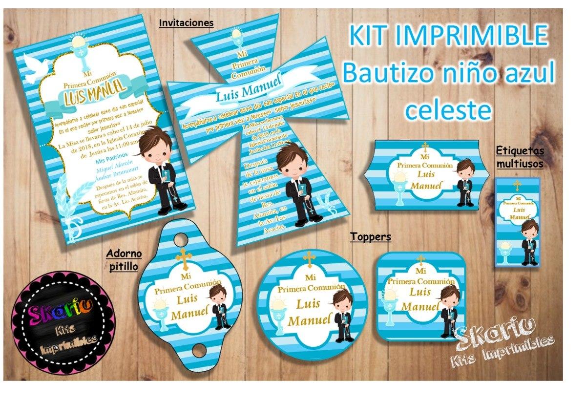 Kit Imprimible Primera Comunión Niño Celes Personalizado