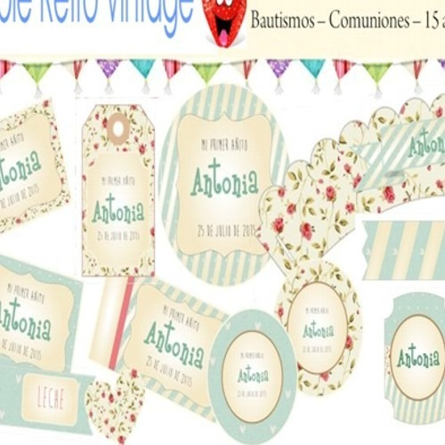 kit imprimible retro vintage cumple bautismo candy bar deco