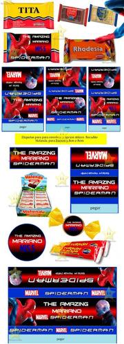kit imprimible spiderman hombre araña candy bar cumple cod01