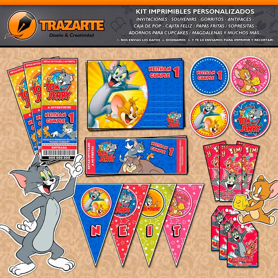 Kit Imprimible Tom Y Jerry Personalizado Candy Bar Cumpleaño