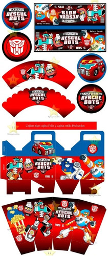 kit imprimible transformers rescue bots diseñá tarjetas