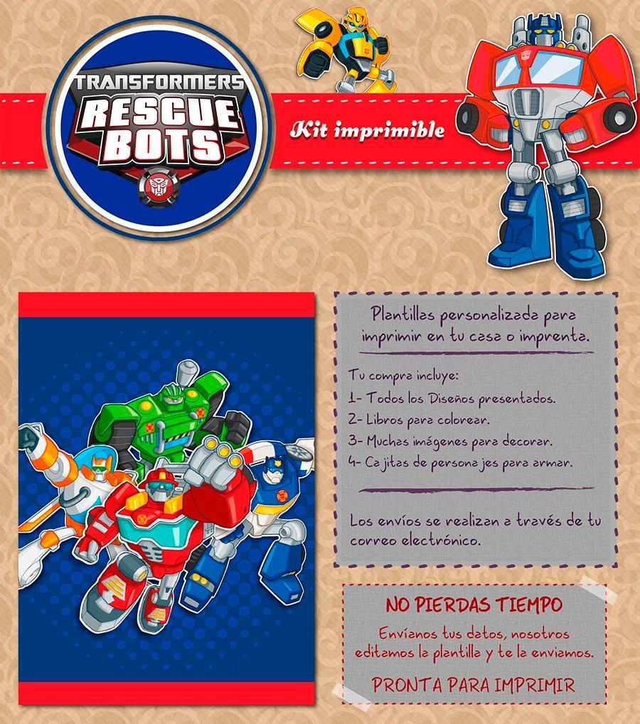 Kit Imprimible Transformers Rescue Bots Personalizado Candy