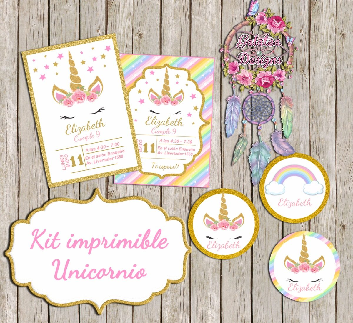Kit Imprimible Unicornio Tarjetas Cumple 2 Kit $ 200,00 en Mercado L